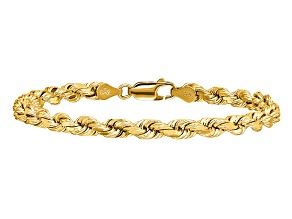 14k Yellow Gold 4.5mm Diamond-cut Rope with Lobster Clasp Chain. Available sizes 7, 8, or 9 inches