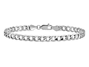 14k White Gold 4.3mm Semi-Solid Curb Link Chain. Available in sizes 7 or 8 inches.