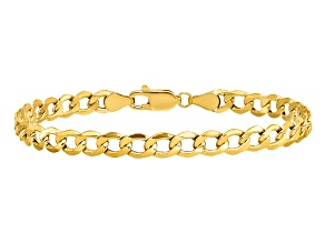 14k Yellow Gold 5.25mm Semi-Solid Curb Link Chain. Available in sizes 7 or 8 inches.