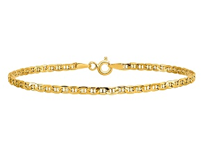 14k Yellow Gold 2.40mm Semi-Solid Anchor Chain 7 inches