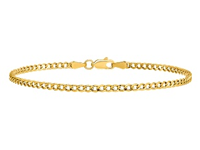 14k Yellow Gold 2.5mm Semi-Solid Curb Link Chain 7 inches