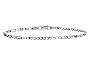 14k White Gold 2.5mm Semi-Solid Curb Link Chain 7 inches