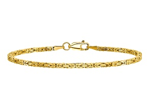 14k Yellow Gold 2mm Byzantine Chain 7 inches
