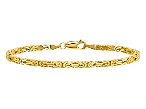 14k Yellow Gold 2.5mm Byzantine Chain. Available in sizes 7 or 8 inches.