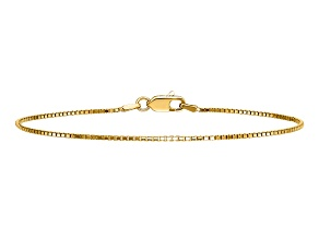 14k Yellow Gold .95mm Box Chain. Available in sizes 7 or 8 inches