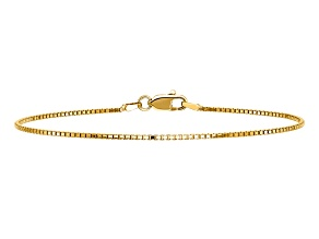 14k Yellow Gold 1.0mm Box Chain. Available in sizes 7 or 8 inches