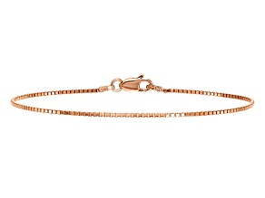 14k Rose Gold 1.0mm Box Chain. Available in sizes 7 or 8 inches