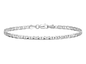 14k White Gold 3mm Concave Anchor Chain. Available in sizes 7 or 8 inches.