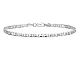 14k White Gold 3mm Concave Mariner Chain