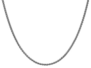 14k White Gold 2mm Solid Polished Wheat Chain 24