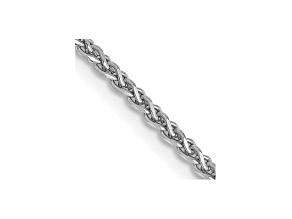 "14k White Gold 1.4mm Solid Diamond Cut Wheat Chain 24"""