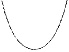 14k White Gold 1.4mm Solid Diamond Cut Wheat Chain 30