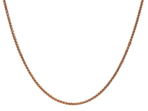 14k Rose Gold 1.40mm Wheat Chain 18