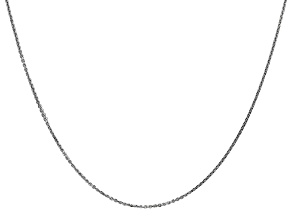 14k White Gold 0.95mm Solid Diamond Cut Cable Chain 18 Inches