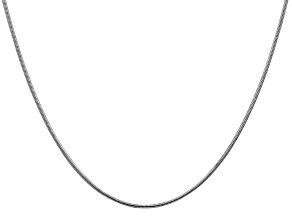 14k White Gold 1.1mm Round Snake Chain 24 Inches
