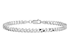 14k White Gold 3.2mm Beveled Curb Chain
