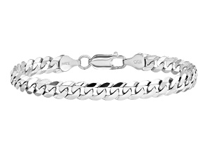 14k White Gold 6.25mm Beveled Curb Chain