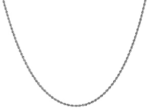 14k White Gold 1.5mm Regular Rope Chain 24 Inches