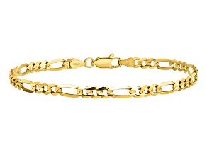 14k Yellow Gold 4mm Concave Open Figaro Chain