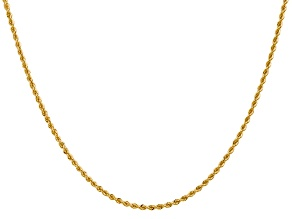 14k Yellow Gold 2mm Regular Rope Chain 20 Inches