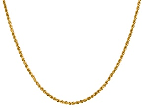14k Yellow Gold 2.25mm Regular Rope Chain 20 Inches