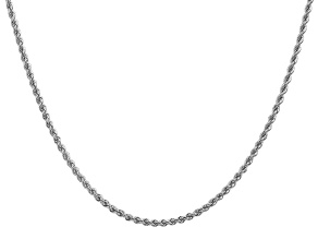 14k White Gold 2.25mm Regular Rope Chain 24 Inches