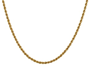 14k Yellow Gold 2.5mm Regular Rope Chain 16 Inches