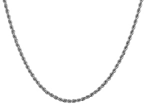 14k White Gold 2.5mm Regular Rope Chain 24 Inches
