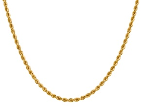 14K Yellow Gold 2.75mm Regular Rope Chain 20 Inches