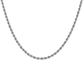 14K White Gold 2.75mm Regular Rope Chain 24 Inches