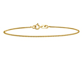14k Yellow Gold 1mm Solid Polished Spiga Chain