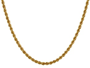 14k Yellow Gold 3mm Regular Rope Chain 24 Inches