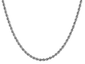 14k White Gold 3.0mm Regular Rope Chain 24 Inches