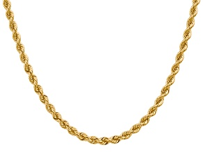 14k Yellow Gold 4mm Regular Rope Chain 30 Inches