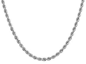 14k White Gold 4.0mm Regular Rope Chain 20 Inches