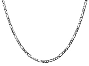 14k White Gold 3.0mm Flat Figaro Chain 18 Inches