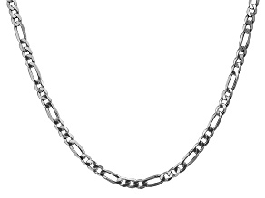 14k White Gold 4.0mm Flat Figaro Chain 24 Inches
