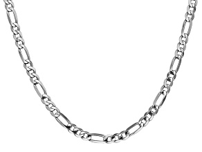 14k White Gold 4.5mm Flat Figaro Chain 24 Inches