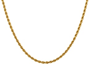 14k Yellow Gold 2.75mm Diamond Cut Rope with Lobster Clasp Chain 24 Inches