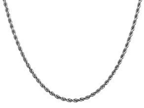 14k White Gold 2.75mm Diamond Cut Rope Chain 24 Inches