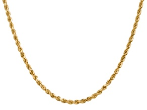 14k Yellow Gold 3.20mm Diamond Cut Rope Chain Necklace 16 Inches