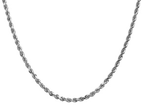 14k White Gold 3.0mm Diamond Cut Rope Chain 24 Inches
