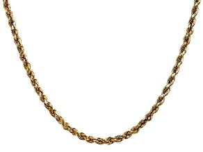 14k Yellow Gold 3.5mm Diamond Cut Rope with Lobster Clasp Chain 24 Inches