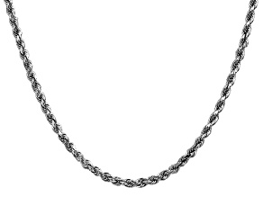 14k White Gold 3.5mm Diamond Cut Rope Chain 26 Inches