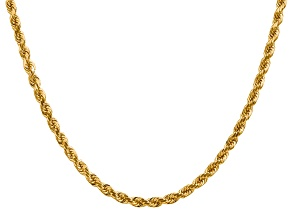 14k Yellow Gold 4mm Diamond Cut Rope with Lobster Clasp Chain 24 Inches