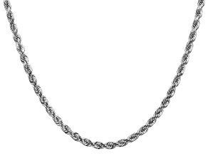 14k White Gold 4mm Diamond Cut Rope Chain 20 Inches