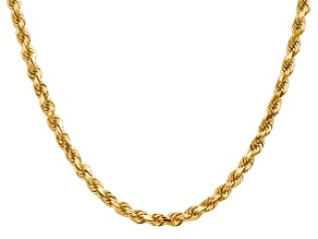 14k Yellow Gold 4.5mm Diamond Cut Rope Chain 30 Inches
