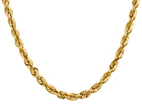 14k Yellow Gold 5.5mm Diamond Cut Rope Chain 16 Inches
