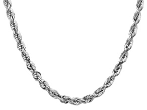 14k White Gold 5.5mm Diamond Cut Rope Chain 20 Inches