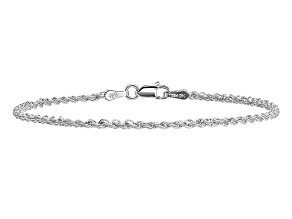 14k White Gold 2mm Regular Rope Chain